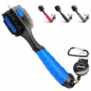 Champkey Pro Brosse de golf rétractable – Tête de brosse surdimensionnée, poignée en caoutchouc souple et brosse de nettoyage de rainure rétractable, bleu