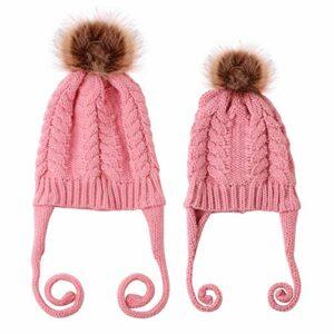 csfssd Nouvelle Braid Pull-Enfant Pull-Baby Set Capuchon tricoté (Color : Pink)