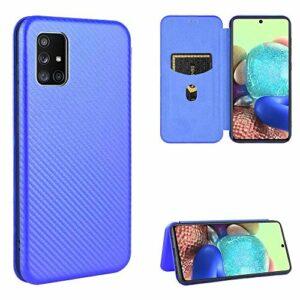 Miagon Galaxy A71 Fibre de Carbone Portefeuille Coque,Cuir Magnétique Mince PC Avant et Tpu Cadre Antichoc Housse Ètui avec Compartiment à Cartes pour Samsung Galaxy A71