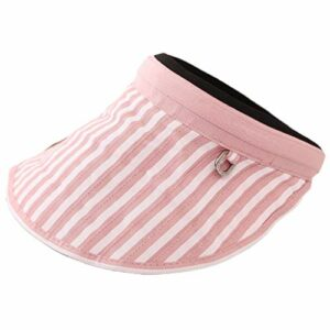 niumanery Women Empty Top Sun Visor Hat Stripes Sunscreen Foldable Golf Tennies Beach Cap Pink+White