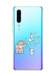 Oihxse Compatible pour Huawei P20 Coque [Mignon Transparente Éléphant Lapin Motif Séries] Housse TPU Souple Protection Étui Ultra Mince Anti Choc Animal Case (A7)