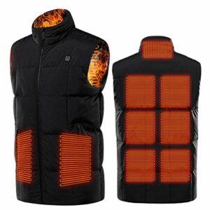 Prevessel Veste chauffante électrique USB avec 3 niveaux de chauffage et 9 zones de chauffage pour le ski, les activités de plein air