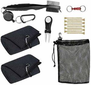 Pro-ALIGN Kit d'outils et accessoires de golf avec sac – 2 chiffons avec mousqueton – Brosse de nettoyage en microfibre pour rainures de club de golf – Outil de réparation de divot de golf
