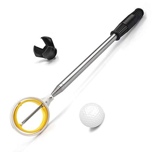 prowithlin Retriever de Balle de Golf Télescopique en Acier Inoxydable pour l'eau avec Outil de Saisie de Putter de Balle de Golf, Accessoires de Golf Cadeau de Golf pour Hommes (1.83)