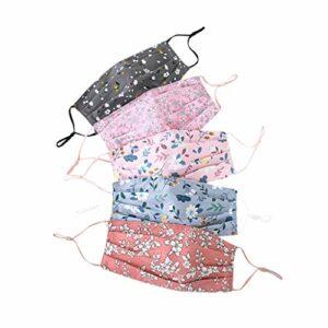 Snakell Foulard Facial Couvre de Conception Florale réutilisable Lavable Handcrafted Tissu de Coton Double Couche modèle Confortable earloops élastiques pour Les Femmes Lot de 5