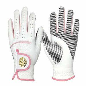 Adoolla 1 paire de gants de golf pour femme en peau de mouton, antidérapants, résistants à l'usure et respirants, 17,6 m