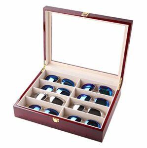 Boîte de verres de puits de lumière en bois Huit treillis lunettes de soleil lunettes de soleil lunettes boîte de montre bracelet Collection Box , b