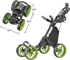 Caddytek Caddycruiser One Version 8 – Chariot de Golf Pliable 4 Roues en Un clic, Mixte, CaddyCruiser One Version 8 – Lime, Citron Vert, Taille Unique