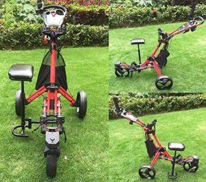 Chariot de golf à 3 roues Push Pull , Fermer le chariot de chariot à pousser pliable avec support de parapluie Tableau de bord du siège de frein à pied, ouvrir et fermer un chariot de golf en un clic