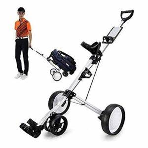 Chariot de golf Chariot de golf Chariot de golf à 4 roues avec porte-gobelet et support de carte de pointage, chariot de sac de club de chariot de chariot portatif pliant, transport et assemblage fac