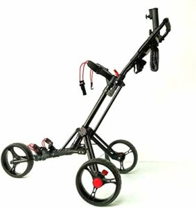 Chariots De Golf 3 Roues Push Pull Golf Cart – One Step Ouverture/Fermeture – Fold 3 Roues Push Pull Golf Cart – Noir