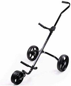 Chariots De Golf Cadre en Alliage d'aluminium de Golf Chariot 3 Roues Golf Push Cart Golf Cart Portable Pliable léger Golf Pushcart Golf Caddy for Les golfeurs Juniors (Color : Black)