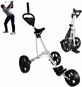 Chariots De Golf Chariot de Golf à 3 Roues avec Barre d'attelage Tableau de Pied de Golf Caddy Lightweight Trolley Sport Format Match Aéroport Bagage Check Panier Golf Caddy (Color : Black)