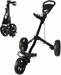 Chariots De Golf Voiturette 3 Roues Golf Chariot pivotant Rapide Pliant Golf Pull Push Cart Golf Cart avec Panneau Multifonction Facile à Ouvrir (Color : Black)