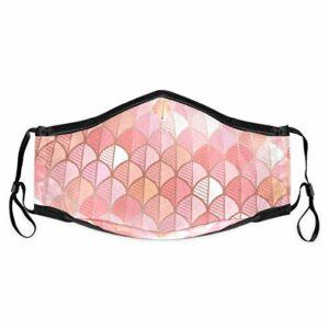 Cherrylove Cagoule en tissu lavable avec motif feuille d'or rose – Unisexe – Avec filtres – Réutilisable, confortable, coupe-vent et anti-poussière