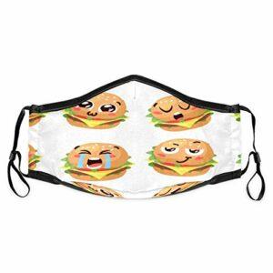 Cherrylove Funny Burgers Cagoule unisexe lavable en tissu avec filtres pour masque de bouche réutilisable confortable coupe-vent anti-poussière