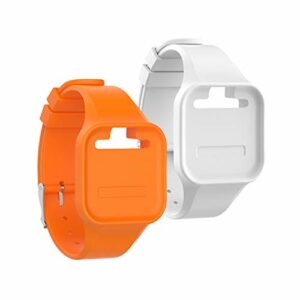 Chofit Bracelet de rechange en silicone compatible avec montre GolfBuddy Voice 2, Orange & Blanc
