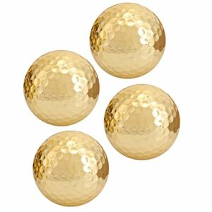 Cosiki Balle de Golf dorée, Balle de Golf Double Couche Accessoire de Golf, 4 pièces pour Les Clubs de Golf golfeurs Amateurs de Golf pratiquant Les débutants