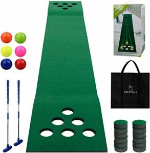 Crestgolf Golf Beer Pong Game Set Green Mat, Tapis de Golf avec 2 putters, 6 balles de Golf, 12 couvercles de Trous de Golf pour Les Jeux Courts en intérieur et en extérieur
