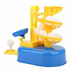 Demeras Junior Machine à balles Automatique entraînement Machine à Lancer Jeu de Sport Enfants intérieur extérieur Cadeaux d'anniversaire de noël(Yellow and Blue)