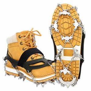EIVOTOR Crampon à Neige Antidérapant 24 Dents Crampons de Glace Universelles Traction Antidérapant Grips Crampons pour Chaussures de Marche, de Jogging, d'escalade, de randonnée (L)