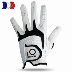 FINGER TEN Gant De Golf Homme Main Gauche Droite Cuir Cabretta Prise Value Pack, Gants Tout Temps Durable Petit Moyen ML L XL (L-Main Droite (Worn on Right Hand), Pack De 1)