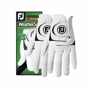 FootJoy Men's WeatherSof Golf Gloves, Pack of 2 (White)