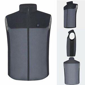 Gilet chauffant électrique JoinBuy.R – 5 V/2 A – Lavable – Température réglable – Chargement USB – Unisexe – Pour moto, motoneige, vélo, chasse, golf, voyage, randonnée