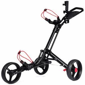 GOPLUS Chariot de Golf à 3 Roues Pliable avec Mécanisme de Pliage Rapide, Chariot de Golf avec Tableau de Bord, Porte-Parapluie, Base, 131 x 68,5 x 105,5CM, Noir