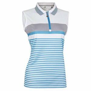 Island Green Polo de Golf pour Femme IGLTS1925, Bleu Cadet/Gris argenté, Taille 18