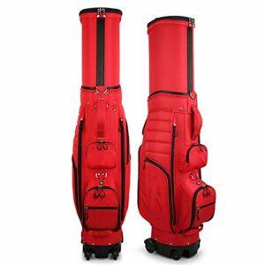 JenLn Carry rétractable Sac de Golf léger Sac de Golf avec des Roues for Voyage de Grande capacité Organisateur (Color : Red, Size : 127x35x44cm)