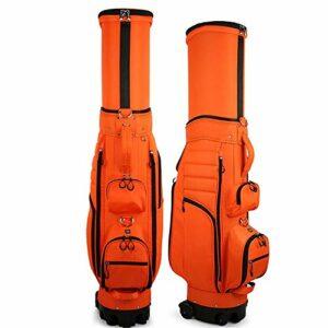 JIAGU Carry rétractable Sac de Golf léger Sac de Golf avec des Roues for Voyage de Grande capacité Organisateur Protecteur de Club de Golf (Color : Orange, Size : 127x35x44cm)
