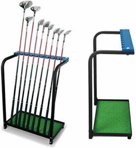 Kofull Nouvel écran Club de Golf avec Support de Rack de Stockage en métal Durable 9Clubs de Golf Clubs étagère Organiseur d'équipement