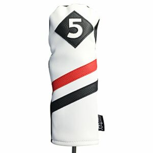 Majek Retro Golf Headcover White Red and Black Vintage Leather Style #5 Fairway Wood Head Cover Classic Look