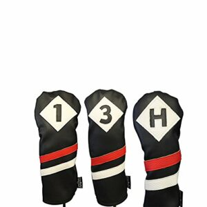 Majek Retro Golf Headcovers Black Red and White Vintage Leather Style 1 3 H Driver Fairway Wood and Hybrid Head Cover Classic Look