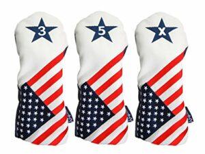 Majek USA Vintage Golf Driver Headcover USA 3, 5, X Couvre-fer Patriot Golf 2016vintage rétro Tête de bois de parcours patriotique Coque Compatible avec tous les moderne Bois de parcours clubs