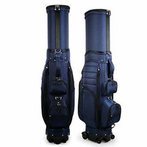 NgMik Sac de Golf Club Carry rétractable Sac de Golf léger Sac de Golf avec des Roues for Voyage de Grande capacité Organisateur Poche Verticale (Color : Dark Blue, Size : 127x35x44cm)