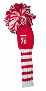 SUB 70 Golf Tour Driver Pom Pom Head cover Rouge Blanc Stripe