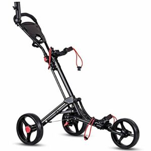 Tangkula Pliable Chariot de Golf 3Roues Chariot de Golf Club Push Pull