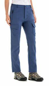 U.mslady Pantalon cargo en softshell doublé en polaire pour femme – Imperméable et coupe-vent (Bleu 14)