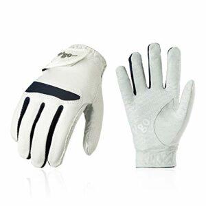 Vgo… Gants de Golf en Microfibre Douce et Respirante pour Femmes (1 Paire, 8/M, Blanc+Noir, MF7991)