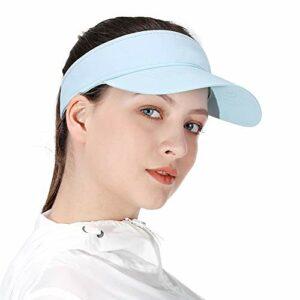 Visières de Soleil Blanches pour Les Femmes et Les Filles, Long Bord Plus épais Sweatband Réglable Hat pour Golf Cyclisme Pêche Tennis Running Jogging et d'autres Sports