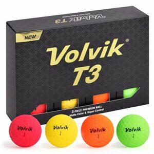 Volvik T3 Ionomer polymère Longue Distance à Rotation Basse Finition Mate Premium 3 Boules 1 douzaine, Multicolore