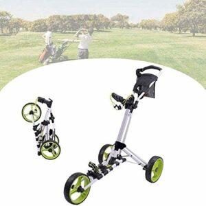 YLKCU Chariot de Golf Chariot de Golf, Chariot de Golf Pliable à 3 Roues avec Angle de poignée réglable, Carte de pointage, Porte-Boissons, voiturettes de Golf légères, Facile à Ouvrir/Fermer