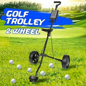 YLKCU Chariot de Golf Chariot Fer Noir réglable 2 Roues Chariot de Golf en Alliage d'aluminium Pliable avec Frein