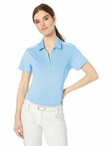 adidas Golf Women's Ultimate Heathered Short Sleeve Polo, Glow Blue, Medium