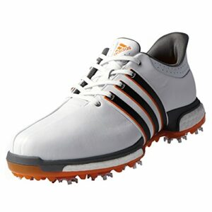 adidas Men's TOUR360 Boost Golf Shoe, Fatwa White/Core Black/Unity Orange, 8.5 M US