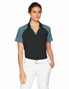adidas Polo de Golf Ultimate 365 à Rayures pour Femme Large Noir/Vert mystère.