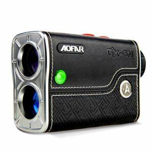 AOFAR GX-5N Télémètre Golf avec Pente on/Off, Flag-Lock Vibration, 800 Mètres avec Mesure de Haute Précision, Grossissement 6X, étanche, Batterie, Beau Paquet