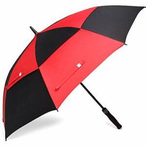 BAGAIL Parapluie de Golf 157,5cm Large très Double auvent ventilé Coupe-Vent imperméable Ouverture Automatique Stick Parapluie pour Homme et Femme, Black/Red, 62 inch